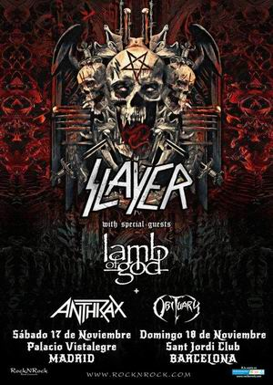 slayer anthrax lamb of god obituary gira despedida madrid barcelona 2018