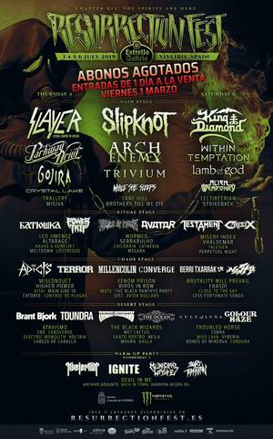 cartel por dias y king diamond resurrection fest 2019
