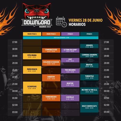 horarios download festival 2019 01 viernes