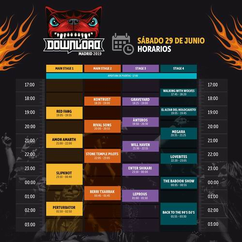horarios download festival 2019 02 sabado