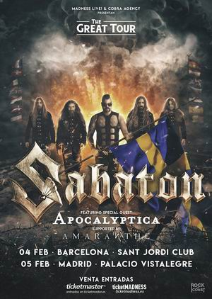 sabaton barcelona madrid 2020