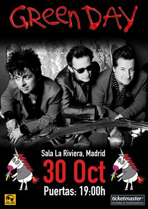 Cartel Green Day 30 oct. Madrid 2