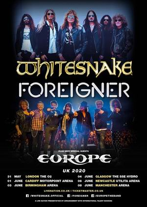 whitesnake europe foreigner gira conjunta uk 2020
