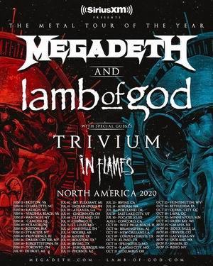 megadeth lamb of god trivium in flames gira 2020