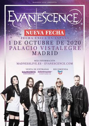 evanescence nueva fecha octubre 2020 madrid