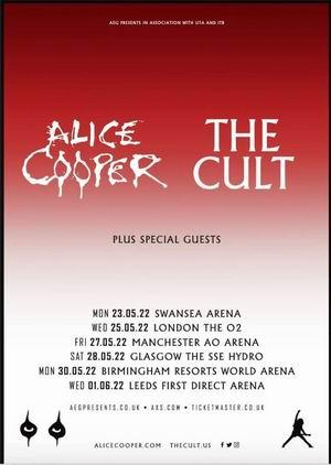 Alice Cooper y The Cult anuncian gira conjunta por el Reino Unido en Mayo y junio de 2022.